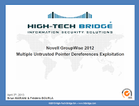 CVE-2013-0804 Novell GroupWise 2012 Multiple Untrusted Pointer Dereferences Exploitation by Brian Mariani & Frédéric Bourla