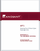 Mandiant APT1 samples categorized by malware families